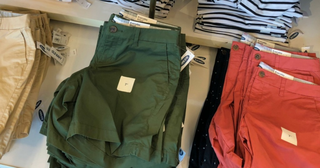 row of shorts on a table