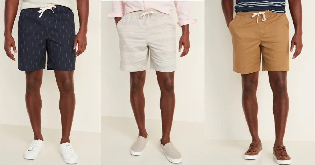 three men wearing Old Navy mens jogger shorts in black with lightning symbols, tan and off white