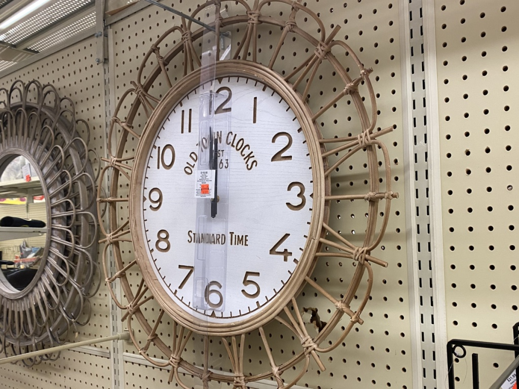 large decorative wall clock in store