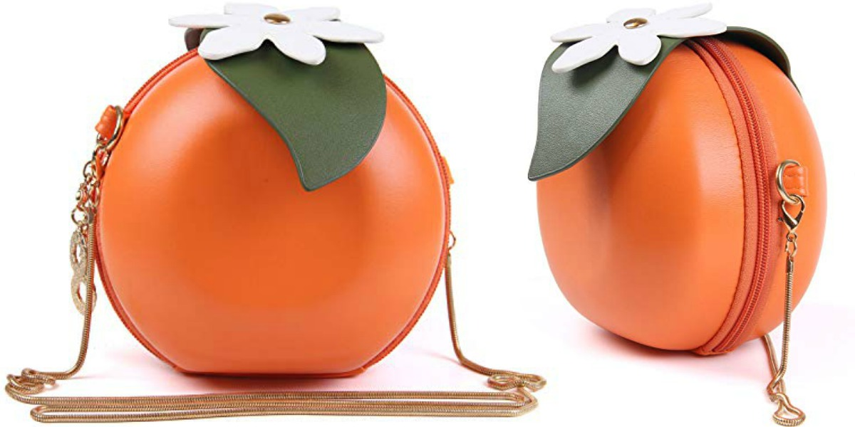 Front and side view of an orange themed purse from Amazon