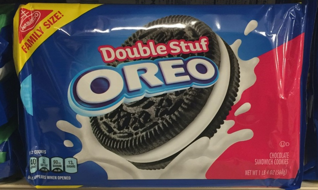 package of chocolate sandwich cookies on store shelf