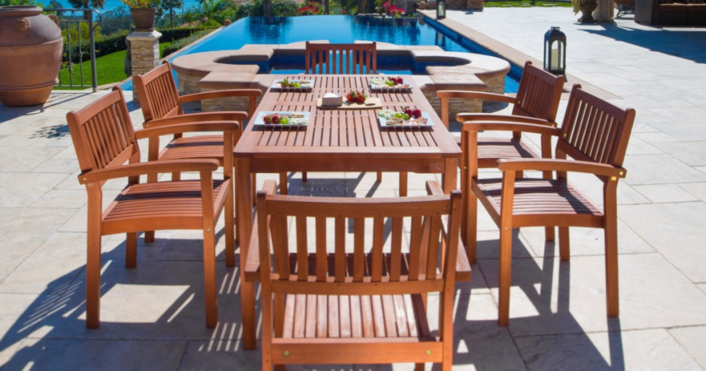 Wooden Outdoor Table and Chairs on a patio