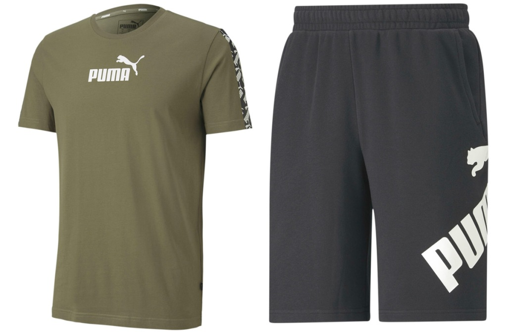 olive green shirt with white puma logo and black shorts with white puma logo on side
