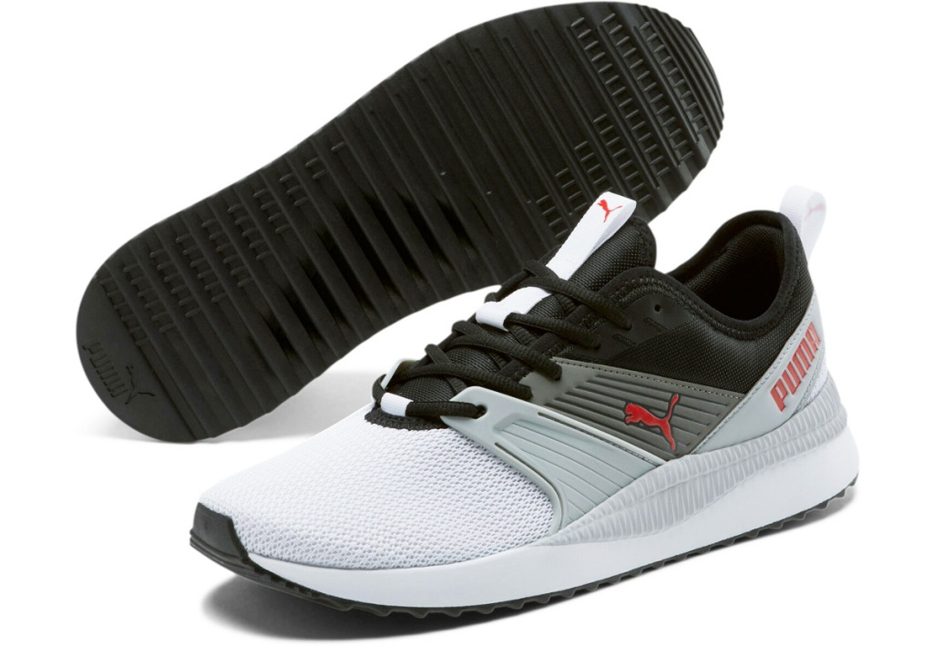 white to black ombre mens sneakers with red puma cat on side