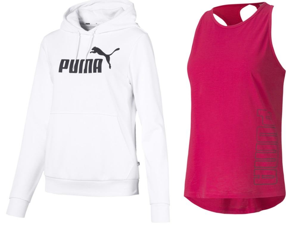 white hoodie with black puma logo and pink racerback tank with black puma logo outlined on side