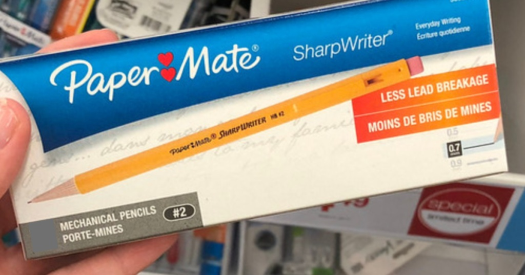 Paper Mate SharpWriter Mechanical Pencils in person's hand