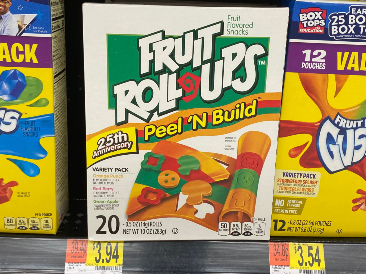 box of fruit snacks on shelf in store