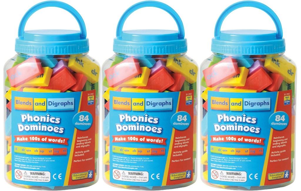 three bucket containers of phonics dominoes