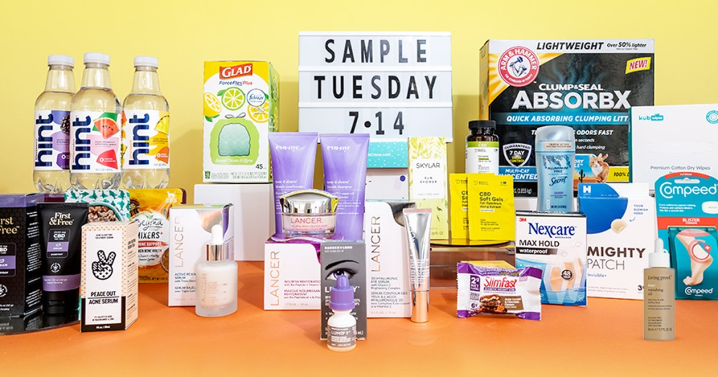 vvarious sample products and light box that says sample tuesday
