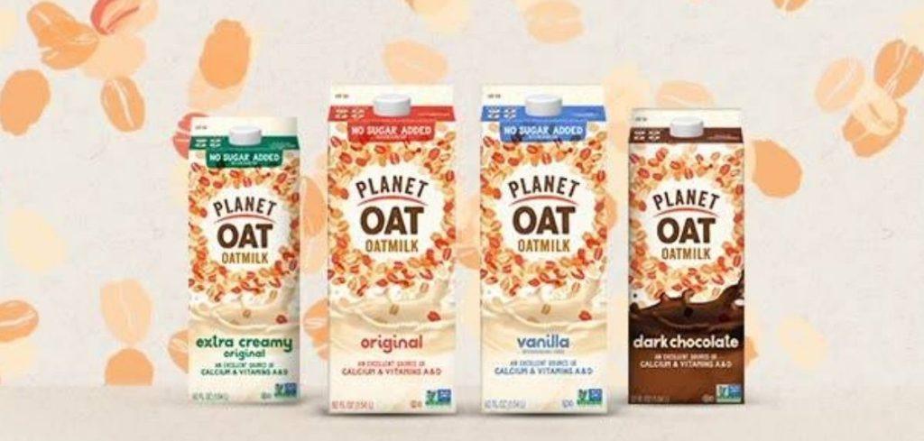 four cartons of oatmilk