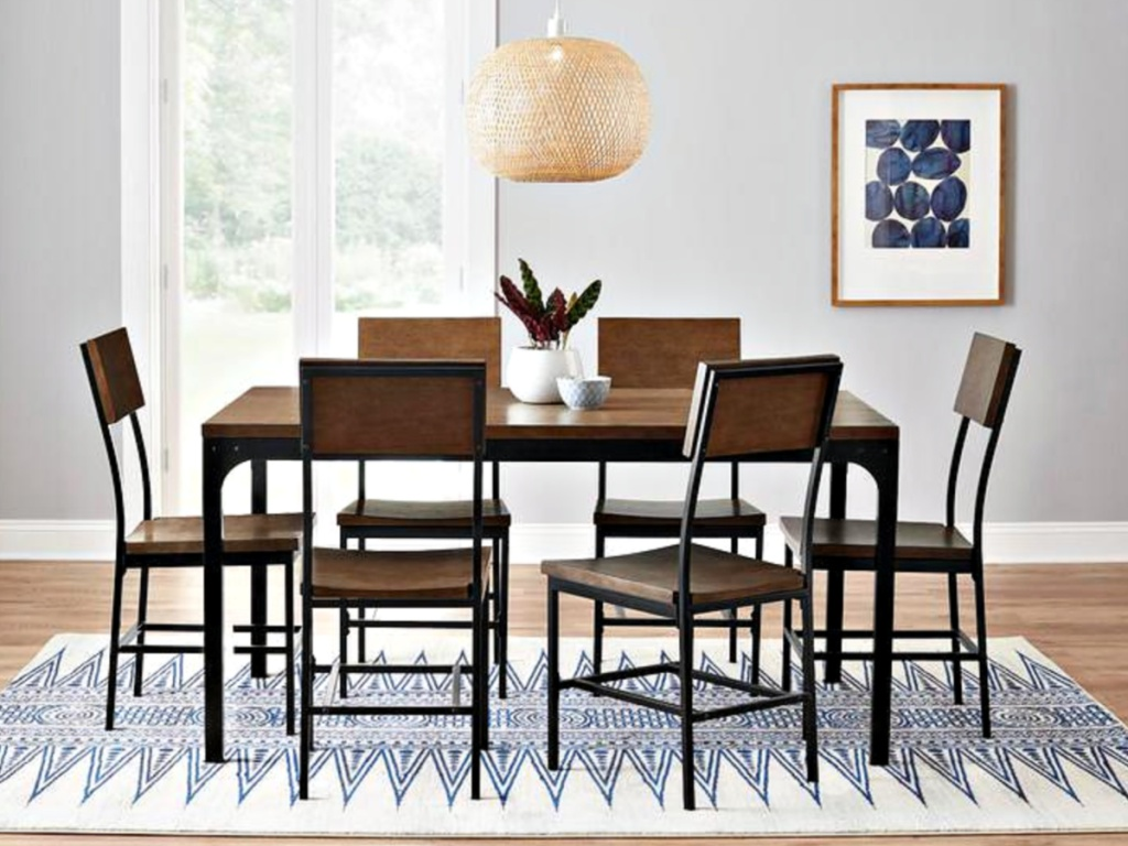Porter Black Metal Counter Height Square Dining Table with Haze Oak Finish Top
