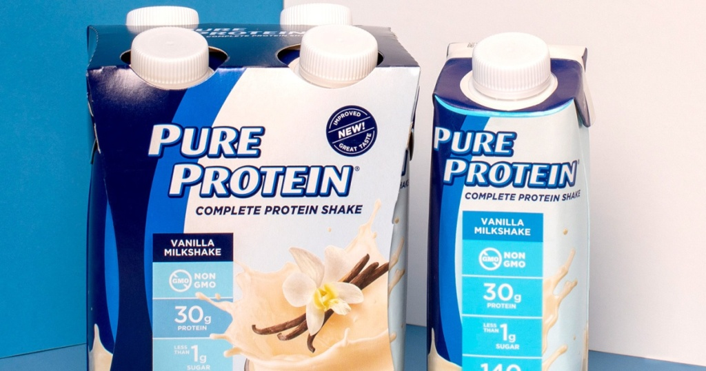 pack of vanilla protein shakes and one shake next to it