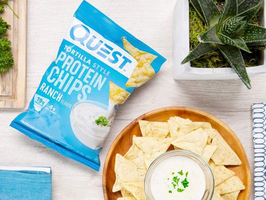 bag of chips next to bowl of dip