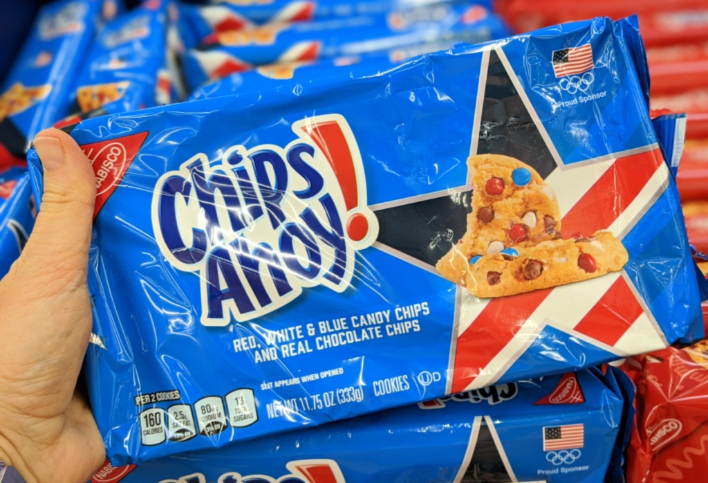 Red White Blue Chips ahoy in person's hand