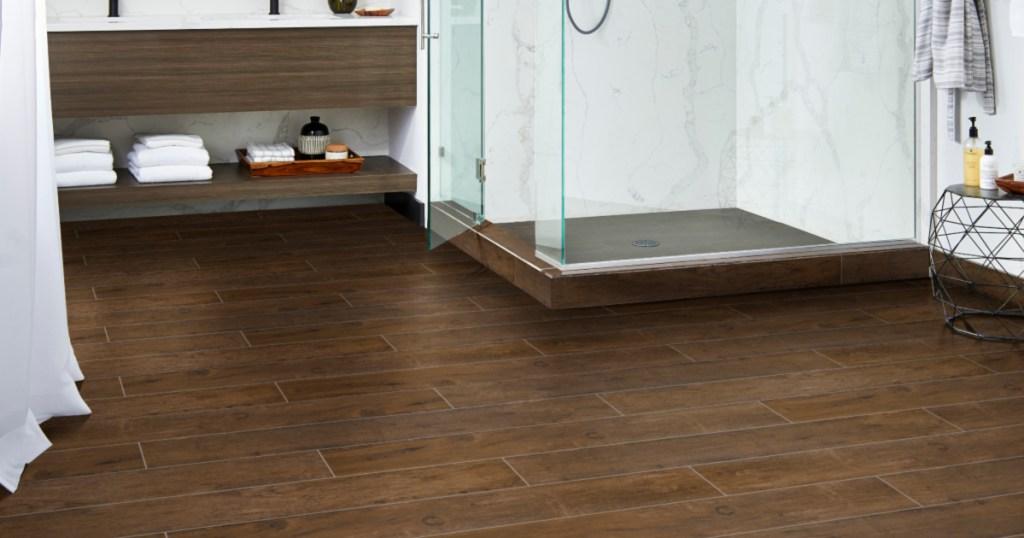 wood flooring in bathroom