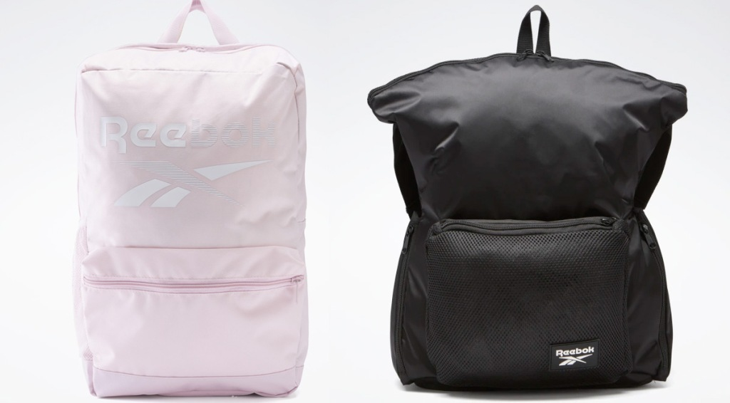 light pink backpack with reebok logo in white and black backpack with small white reebok logo on lower right corner