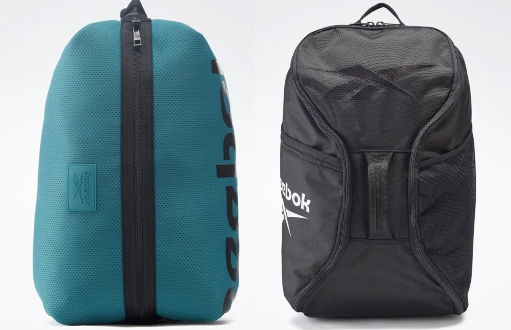 teal backpack with black zipper down center and black backpack with white reebok logo on side