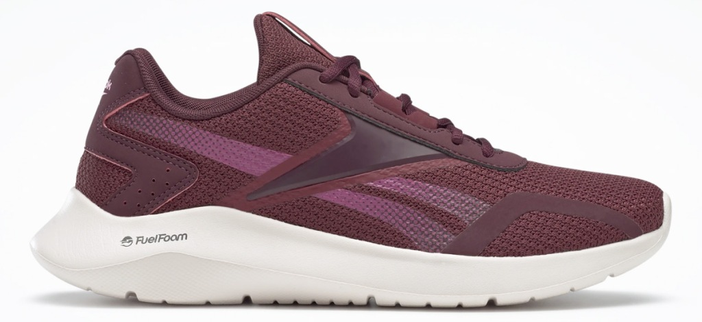 maroon red colored reebok running shoe with white foam sole