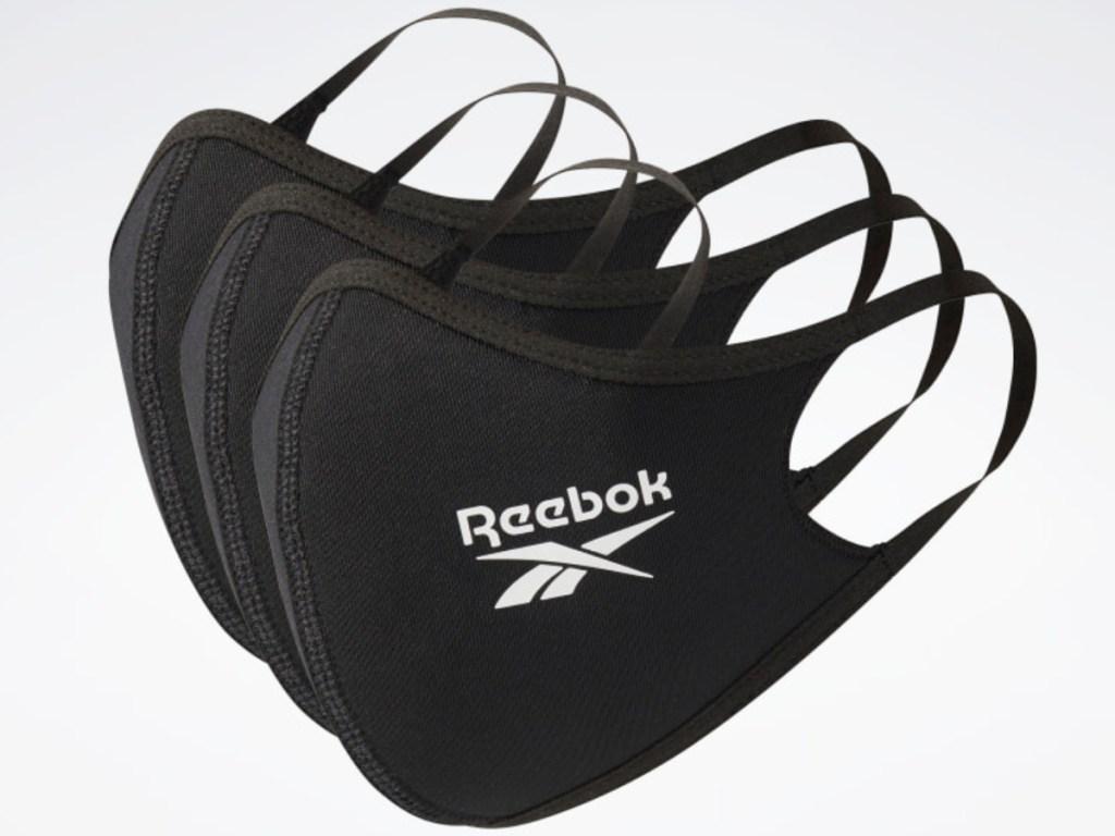 3 pack of black reebok face mask coverings