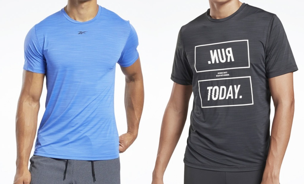 two men modeling solid blue and black graphic tees