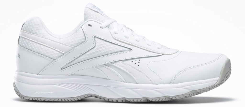 white leather reebok shoe with white sole