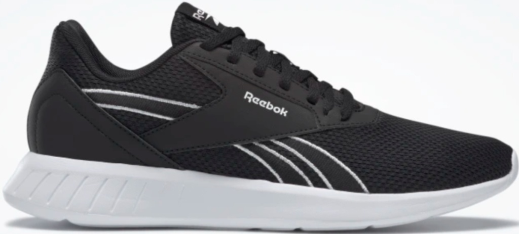 reebok black and white running shoe