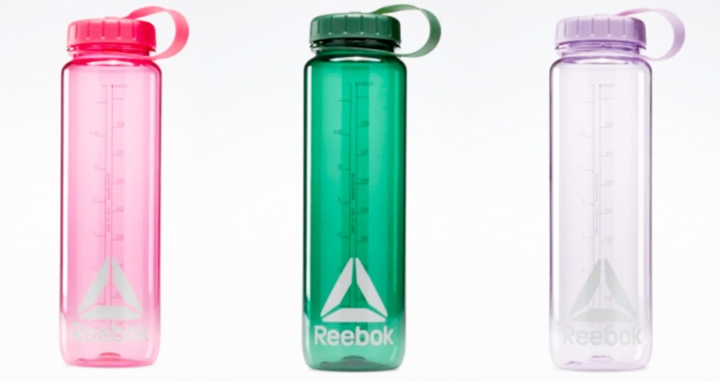 three reebok water bottles in pink, green, and purple