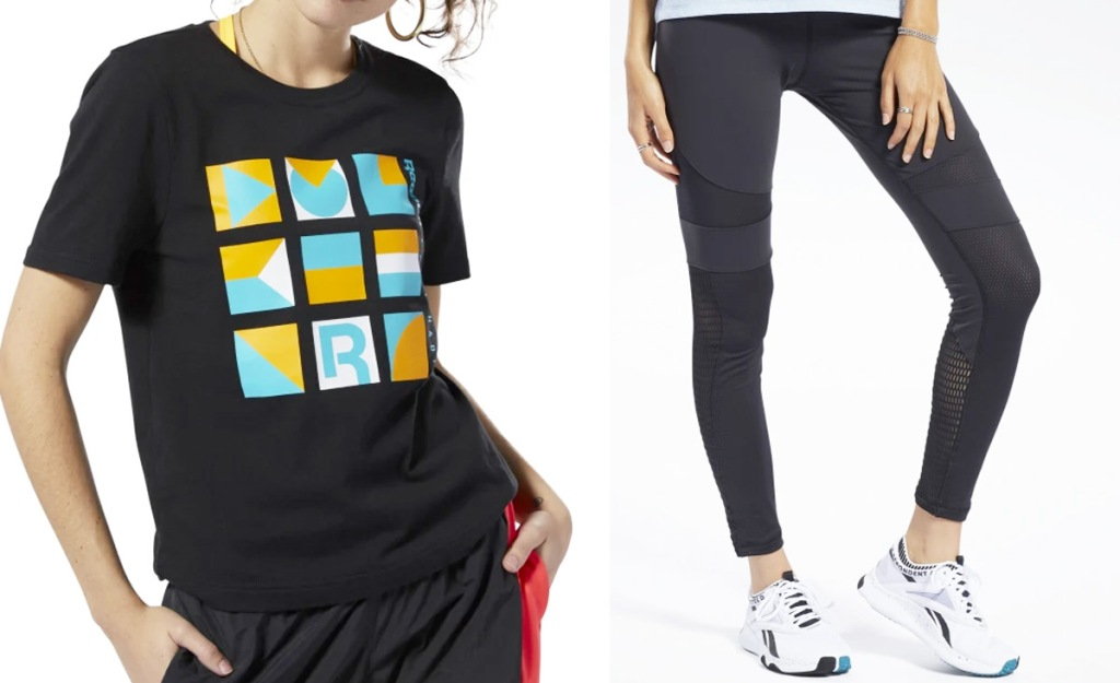 two women modeling a black graphic tee and pair of black leggings