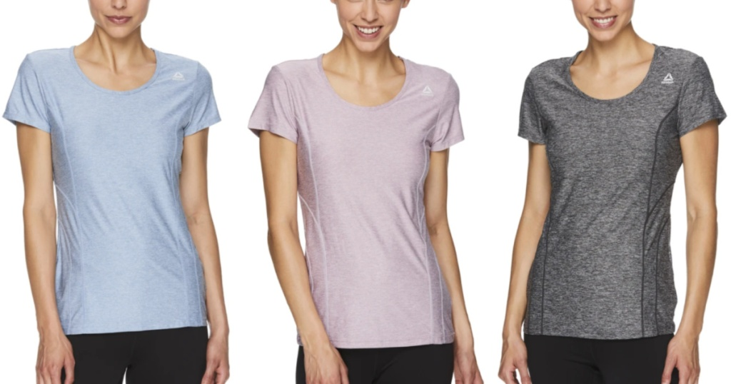 3 women standing next to each other wearing short sleeve t-shirts