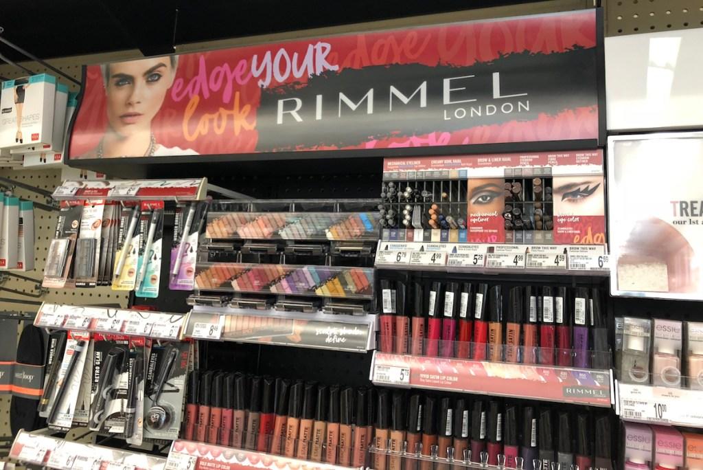 Rimmel cosmetics display at Walgreens