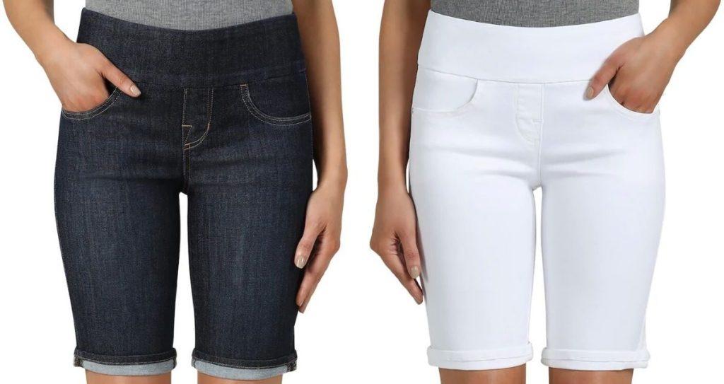 two women wearing knee length shorts