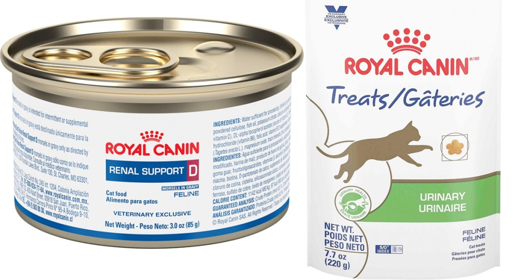 can of Royal Canin cat food and bag of cat treats