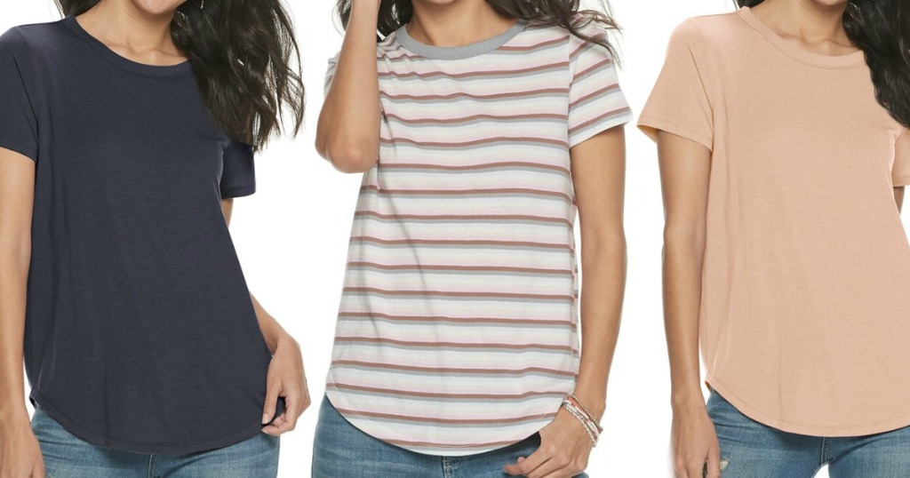 three women wearing t-shirts