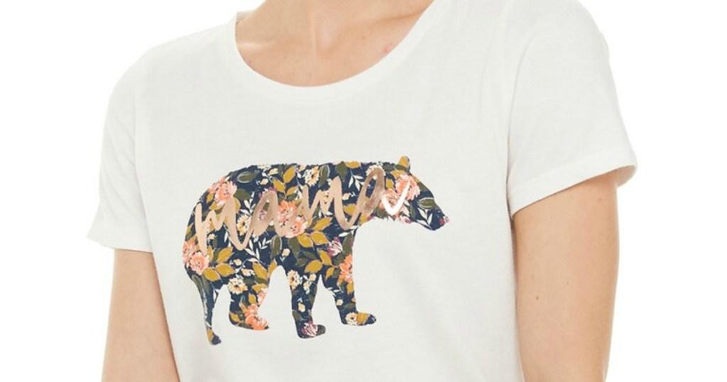 woman wearing a graphic t-shirt