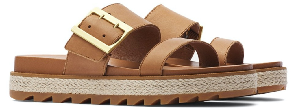 women's brown slides with buckle