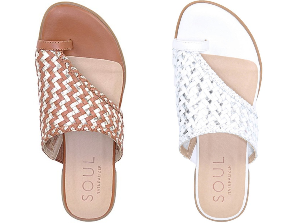 brown and silver women's sandal and white and silver women's sandal