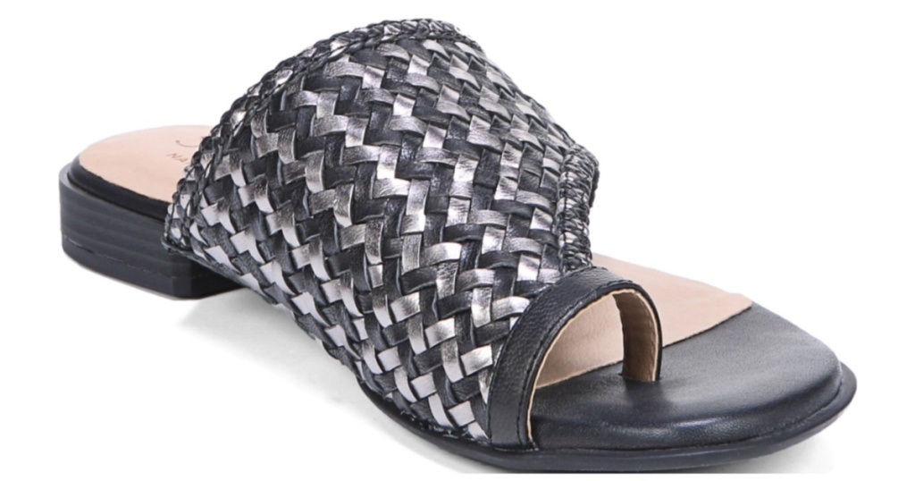 black and silver women's sandal