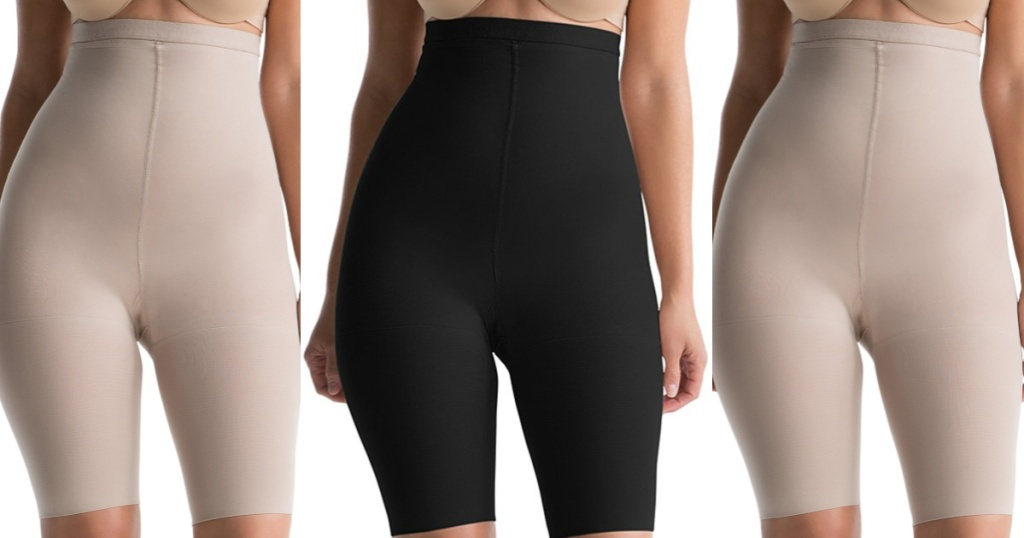 SPANX Higher Power Shaper in black and bare on models