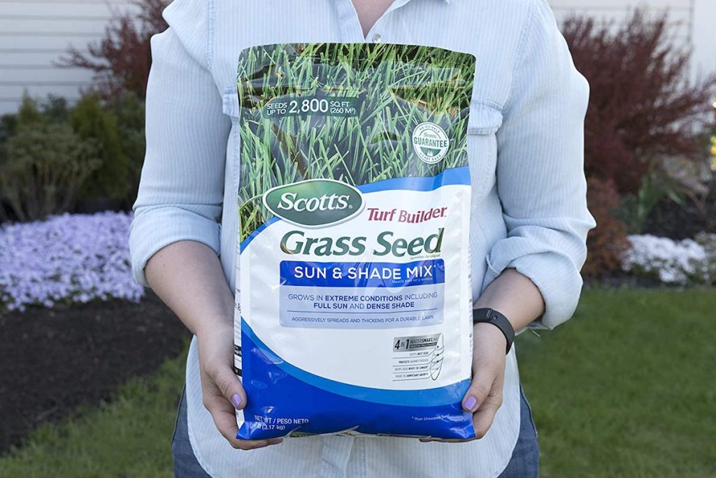 woman holding Scotts grass seed bag