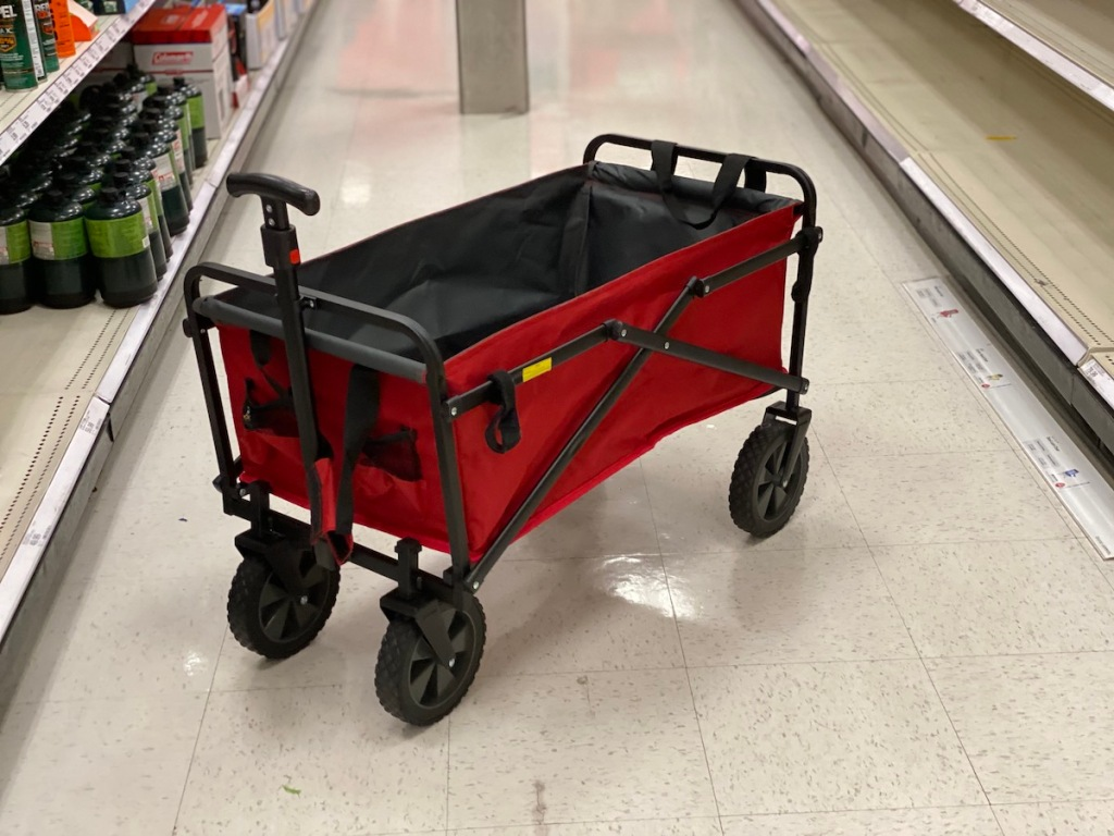 red Seina Utility Wagon with Side Straps open inside of store