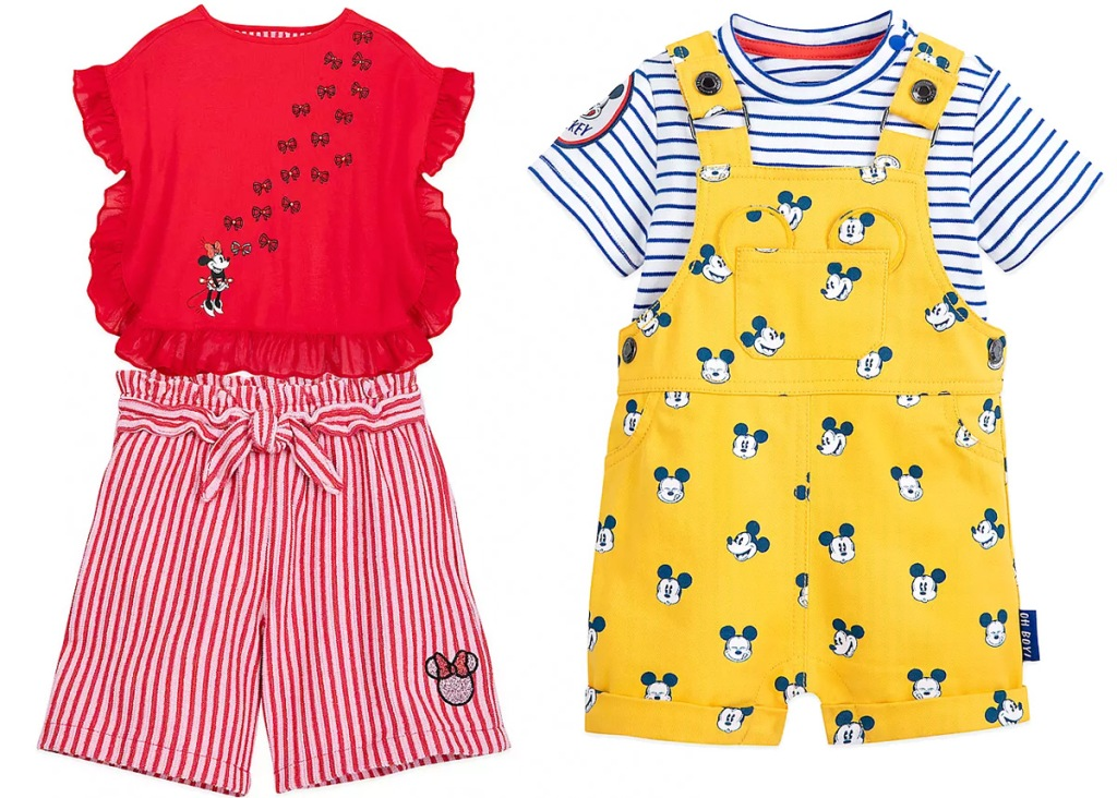 girls red disney top and striped shorts set, and yellow baby overalls with striped shirt