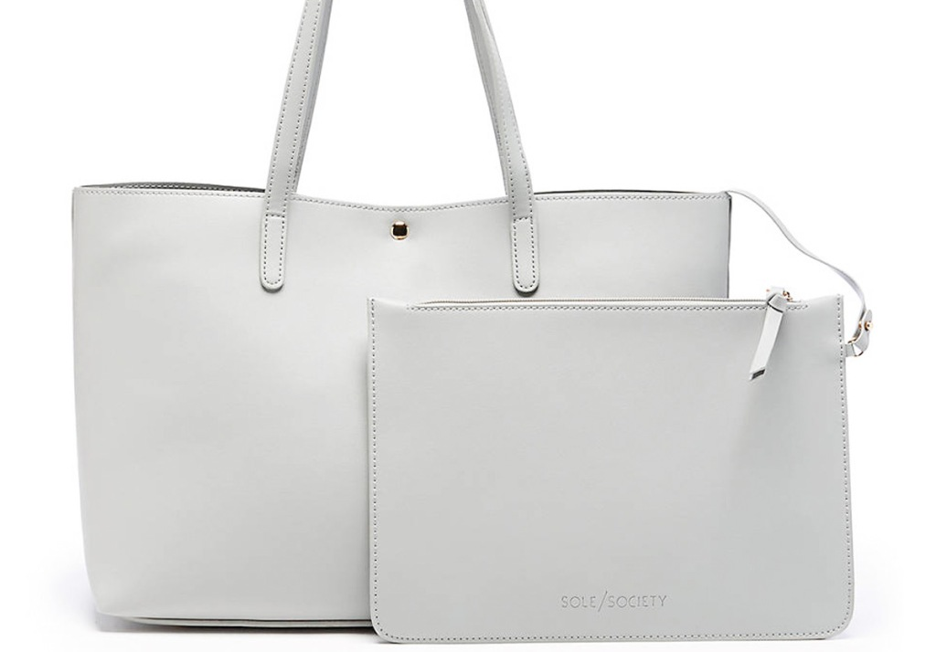 white tote bag with matching removable pouch
