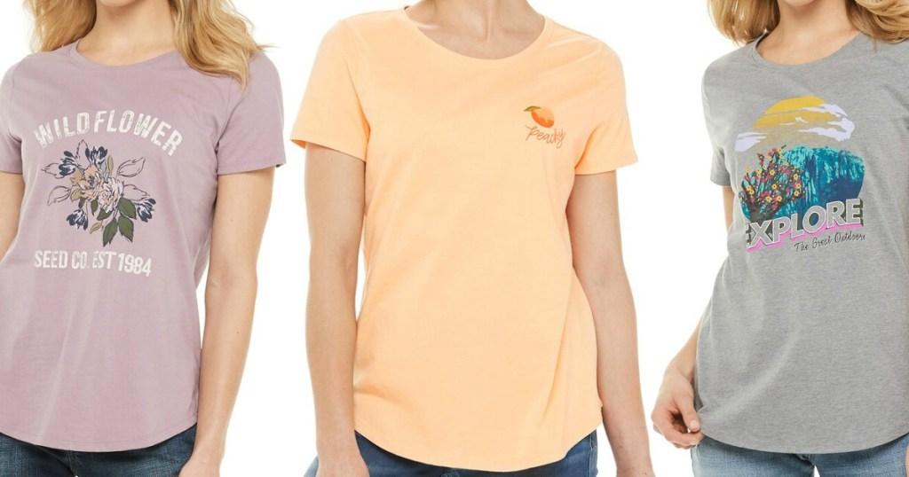 three women wearing Kohl's shirts