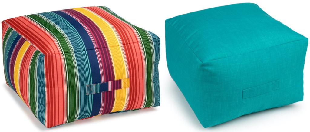 multi-colored striped pouf and teal pouf
