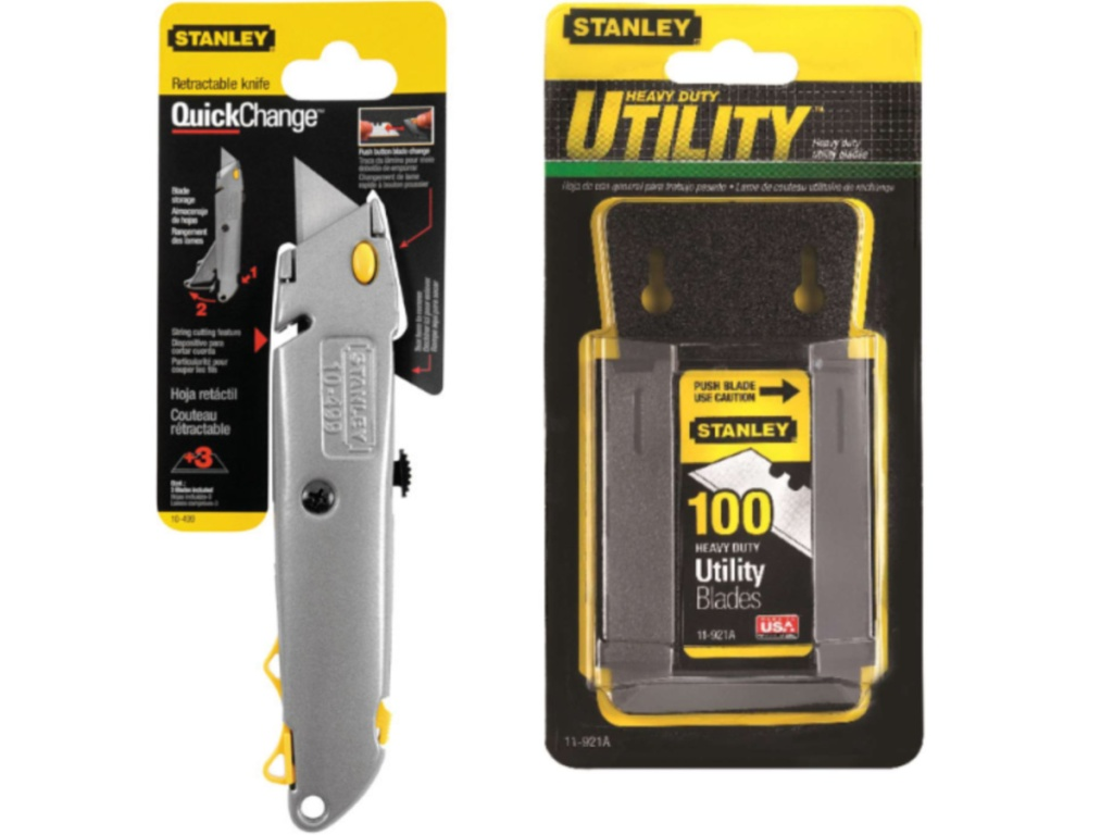 Stanley utility knife and replacement blades