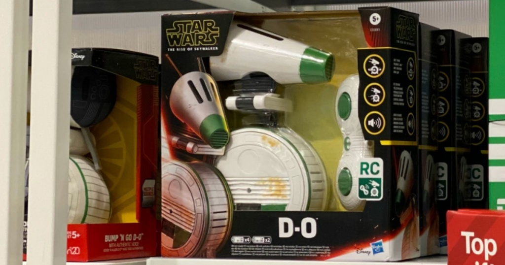 Star Wars droid rolling toy on shelf in store