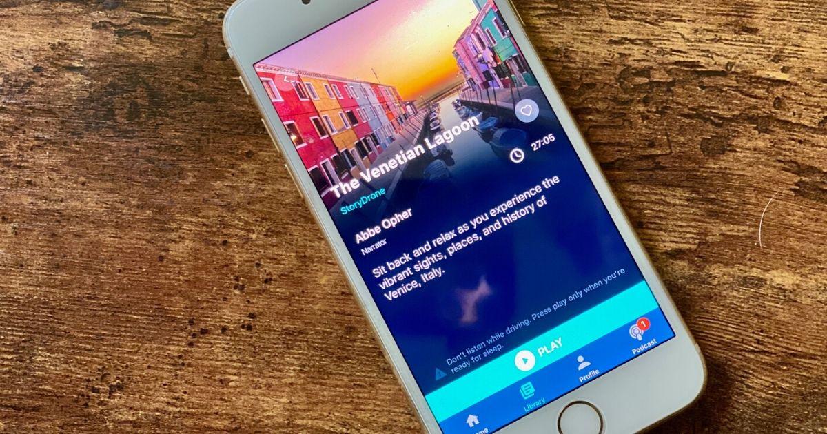 A sleep story displayed on the Slumber app on a phone