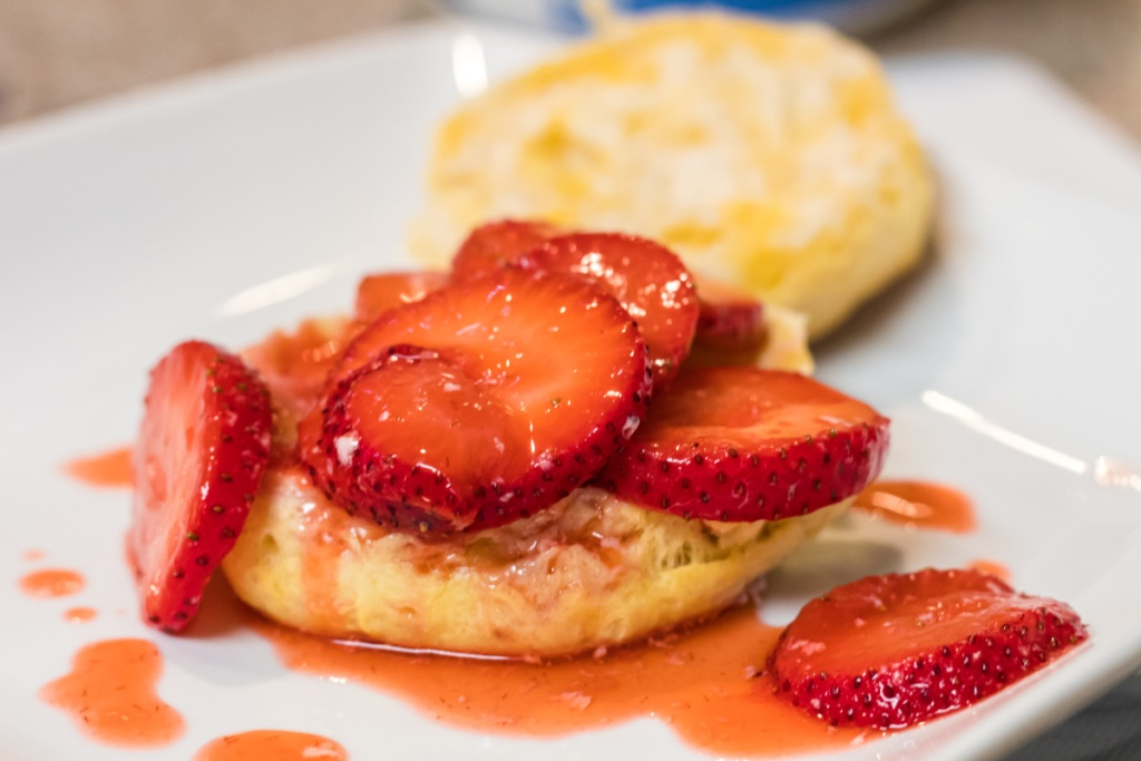 strawberry over biscuit