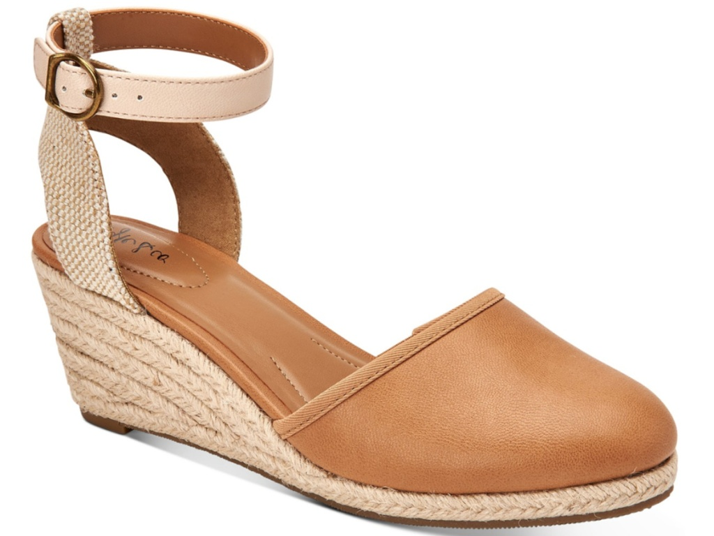 brown sandals with buckle ankle strap and wedge heel