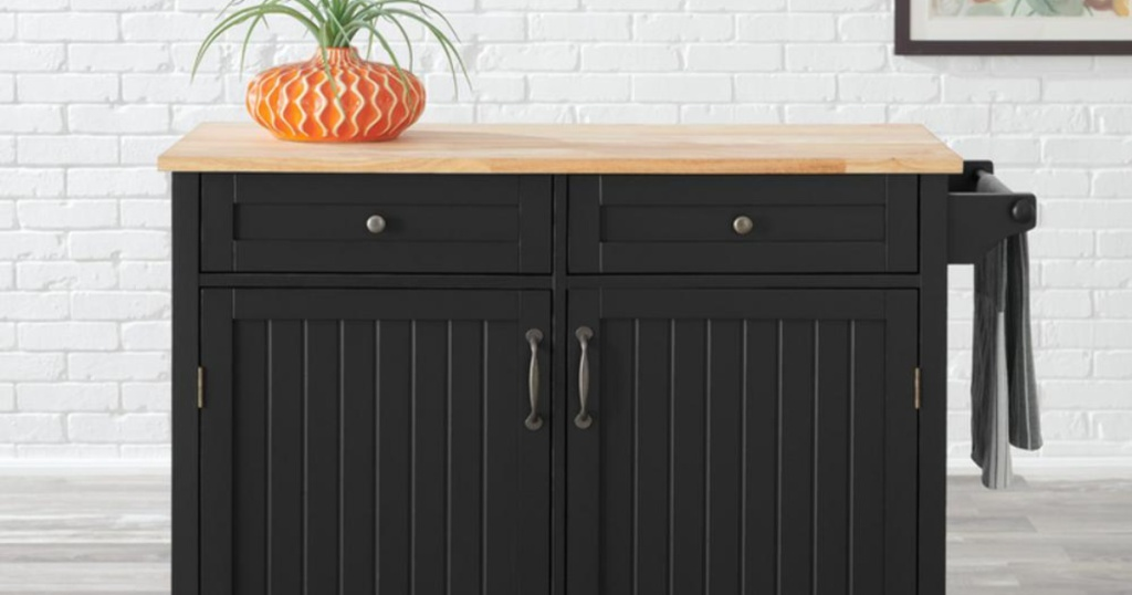 black with wood butcher block StyleWell Bainport Black Kitchen Cart with Butcher Block Top